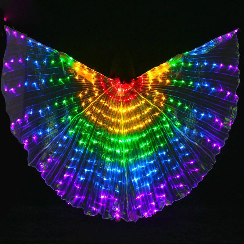 Light up fairy wings Led Isis Wings Sticks Belly Dance Accessories Stage Performance Props Shining Led Wings Open 360 Degrees