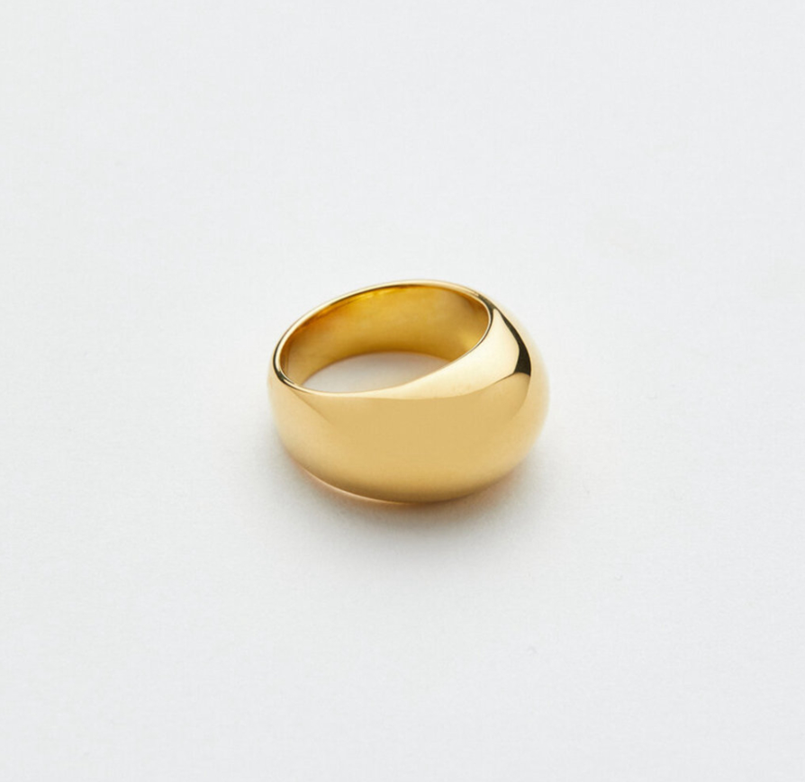 Popular Design Chunky Rings Jewelry Women Stainless Steel Gold Dome Ring