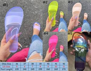 new fashion Clear Jelly pvc Sandals Womens Luxury Designer Shoes Transparent Glossy Pool Slides Lady Rubber Slip On Sandals