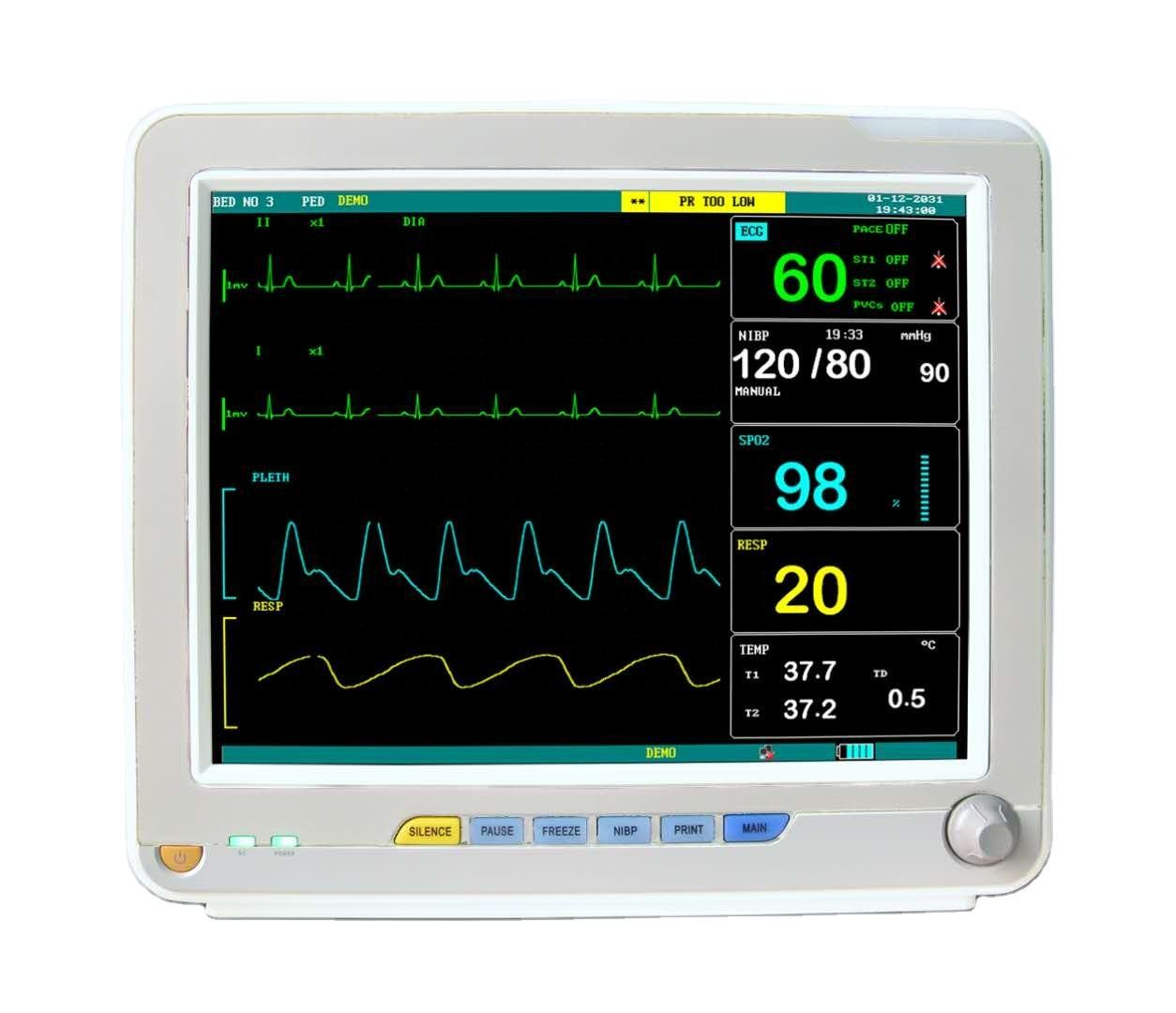 12 inches Touch TFT LCD Screen Spo2 6 parameters Multi-paremeter ICU Cardiac Patient Monitor