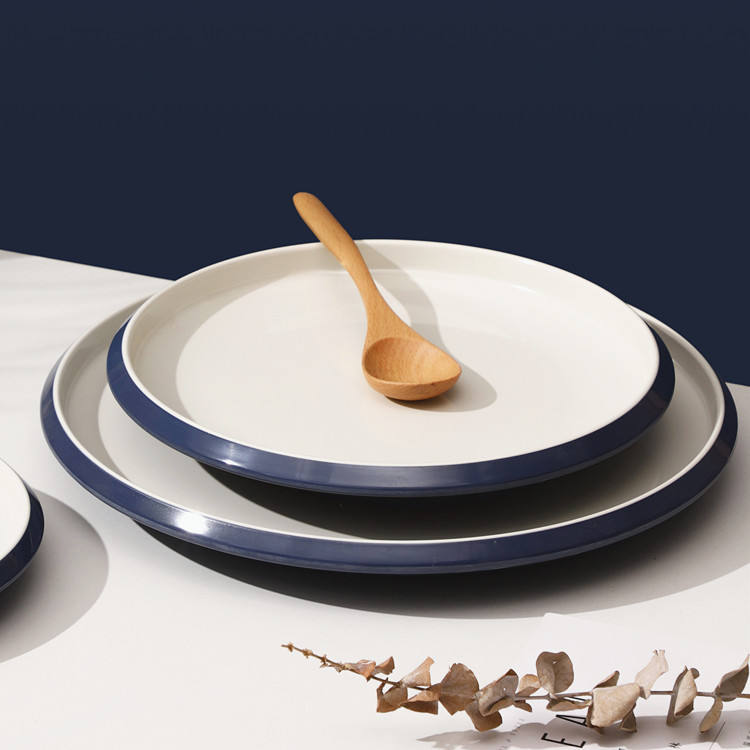 European style 100% melamine blue round smooth surface restaurant western steak melamine plate