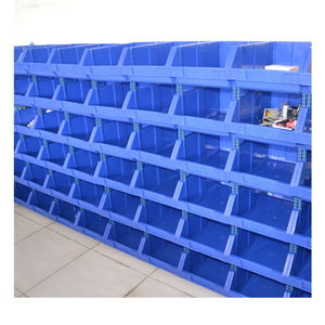 Stackable plastic storage bin for spare parts