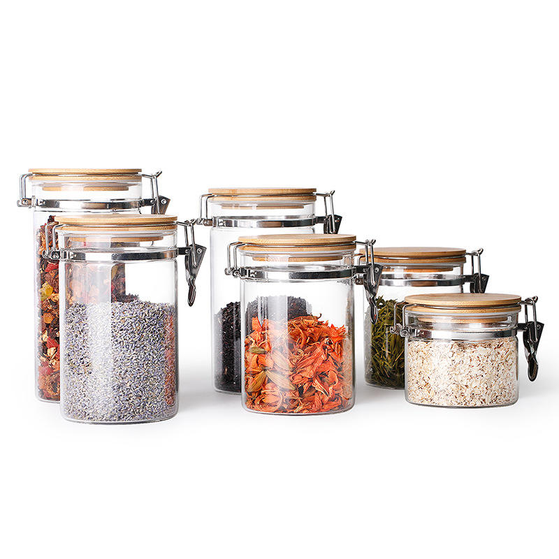 Kitchen Accessories Practical Food Glass Jar Customizable Capacity Glass Container Food Storage Container With Lock Wood Lid