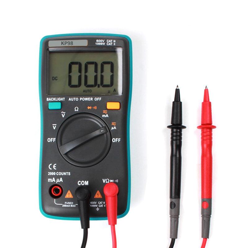 KP98 Vạn Năng cầm tay mini và <span class=keywords><strong>pin</strong></span> hoạt động Đồng Hồ Kỹ Thuật Số toàn năng bảng có thể đo điện dung