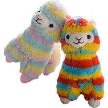 Custom cartoon lovely stuffed super soft rainbow alpaca plush toy good quality animal plush toy