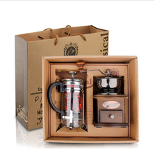 Wholesale Amazon Coffee Accessories Gift Box Wood Manual Coffee Grinder 350ml Glass French Press Coffee Maker