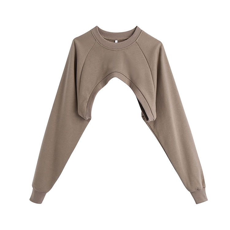 Chic Crew Neck Ultra-Short Crewneck Ladies Tops Long Sleeves Custom Sweatshirt Wholesale Crop Top Shirts Women -PT