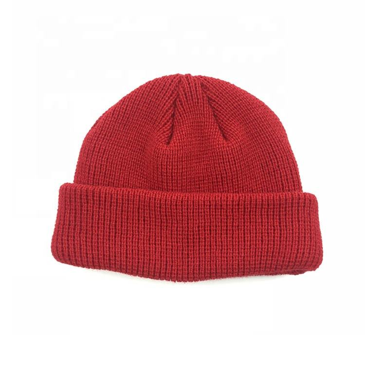 Custom 100% Cotton Plain Slouch Knit Beanie Hat
