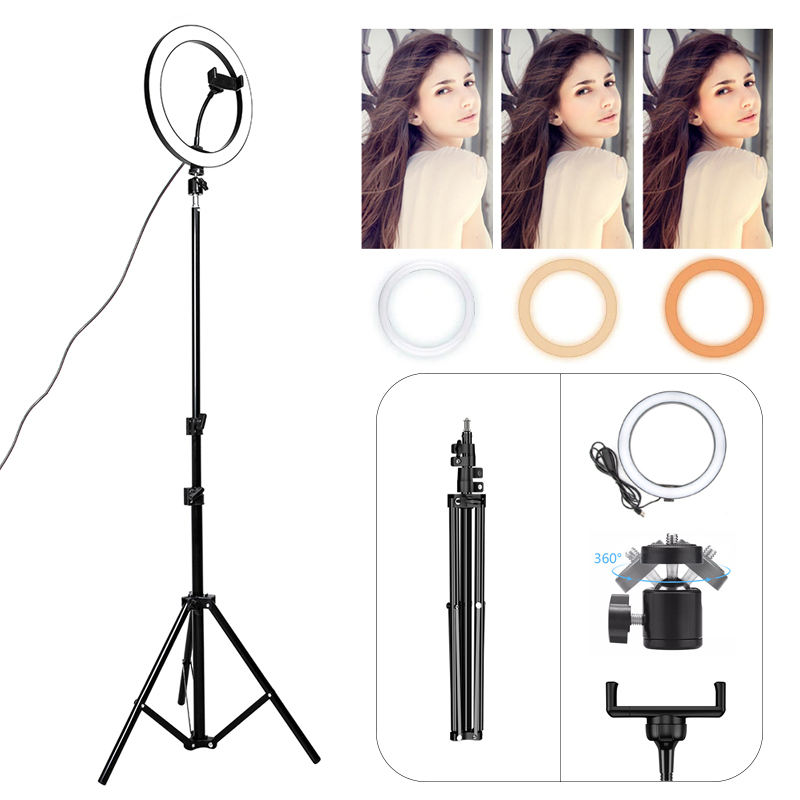 ring light with tripod stand photographic lighting 12 inch beauty lamp selfie led ring light