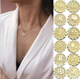 Wholesale Customized 12 Constellation Jewelry 18k Gold Horoscope Zodiac Sign Coin Pendant Necklace for Women Birthday Gifts