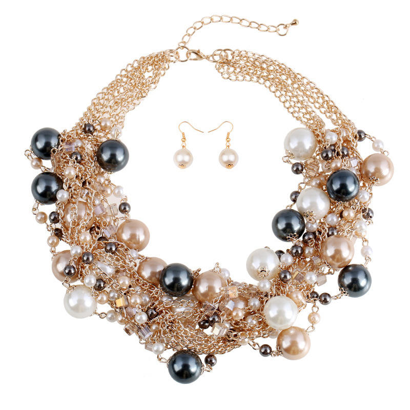 HFN008 Trade assurance 2020 latest design retro jewelry set shiny pearl mixed color necklace short earring Europe charm jewelry