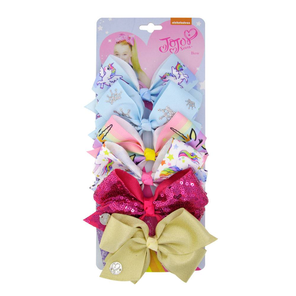 6 inch per card 5.15 inch wholesale grosgrain ribbon hair bows, jojo siwa bows set, hair clip set