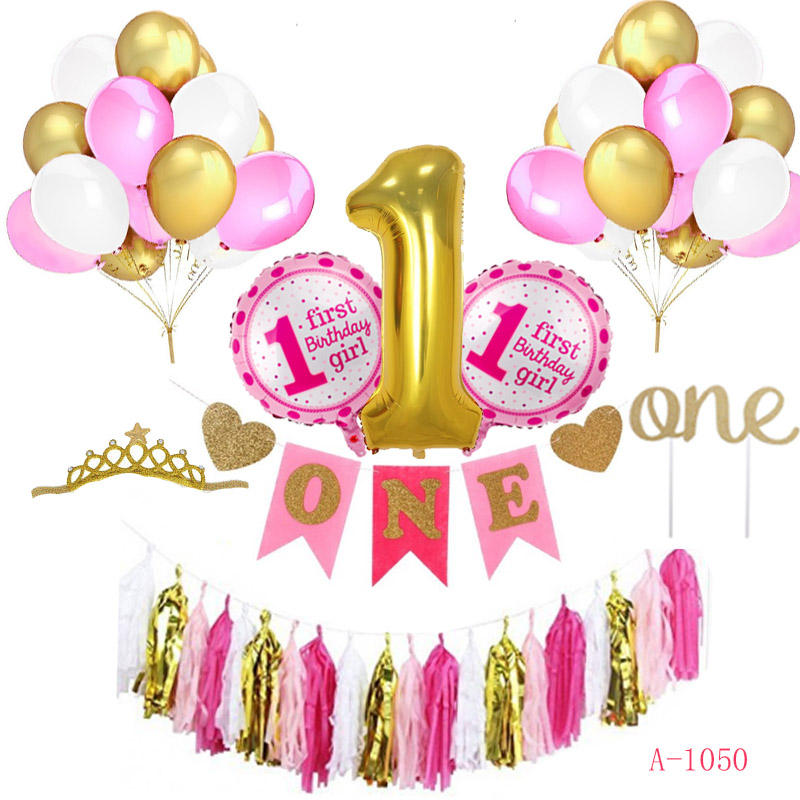 New Popular I Am One 1st Birthday Party Decorations Balloon set Girl Banner Birthday Party Decoration