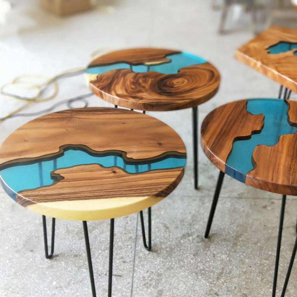 Household Solid wood round river living room coffee epoxy resin table