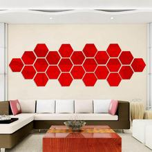 Self Adhesive Mirror Tiles Wall Stickers High Gloss Room Home Art Mirror Sticker Hexagon mirror environmentally friendly