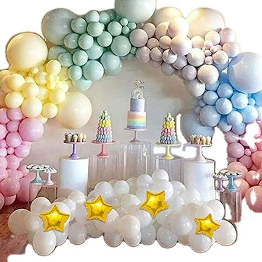 Magical Rainbow Macaron Balloons Garland Arch Kit for Pastel Baby Shower Birthday Bridal Shower Ice Cream Party