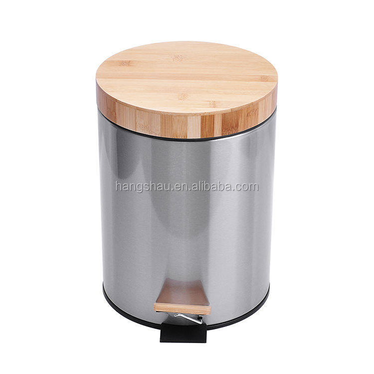 5L luxury stainless steel foot pedal trash can with bamboo lid