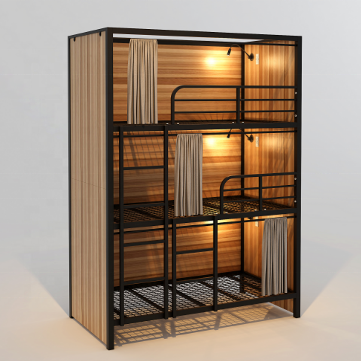 Latest designs metal pipe king size triple decker bunk bed with locker for prison