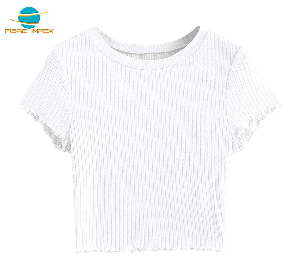 Wholesale rib fabric plain blank white crop tops for women