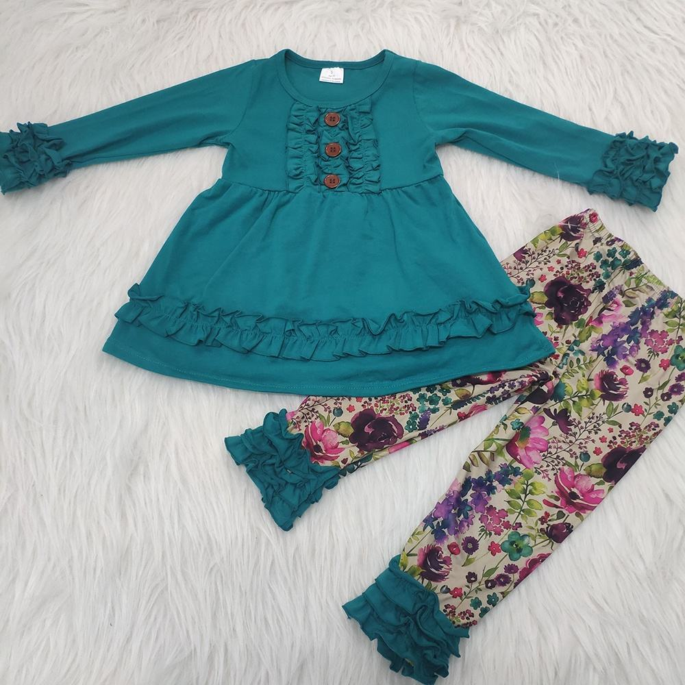 RTS items No moq Floral Fabric Plain Green Shirt +Ruffle Pants Cute Baby Girl Long Sleeve High Quality Kids Boutique Clothes