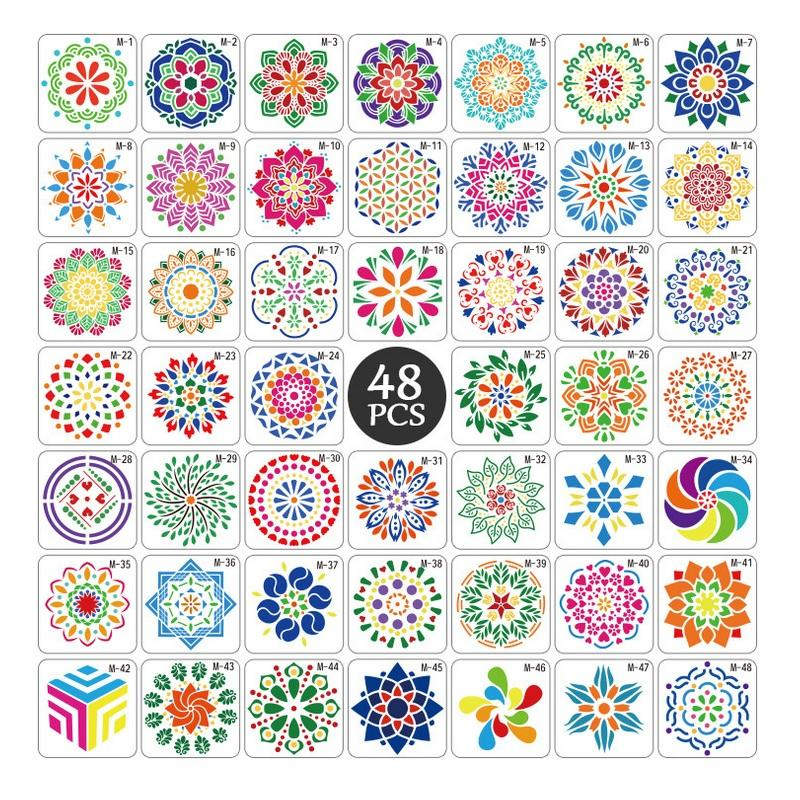 48 Pieces Detura Flower Style Painting Models Drawing Template And Drawing Stencil Plastic Of 13 13センチメートル