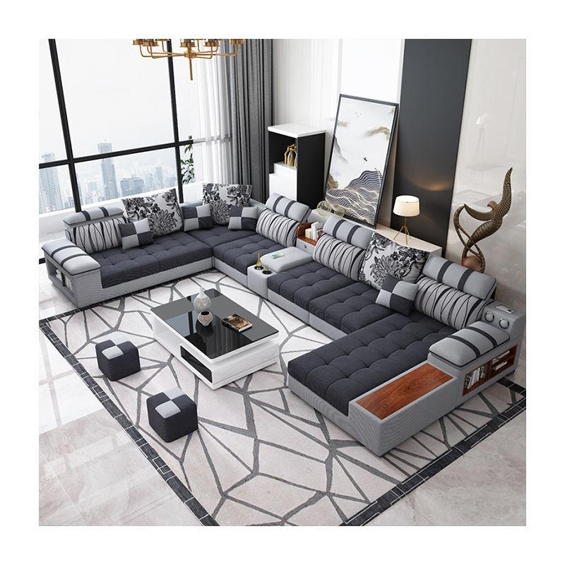 De lujo en forma de U de sofá de tela conjuntos para la sala de muebles para el hogar moderno SF037