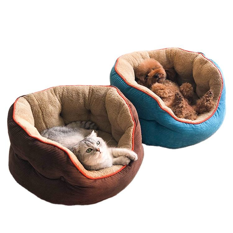 Factory OEM & ODM corduroy kennel featured high-end pet dog puppies cat fleece warm bed house plush comfortable nest pad
