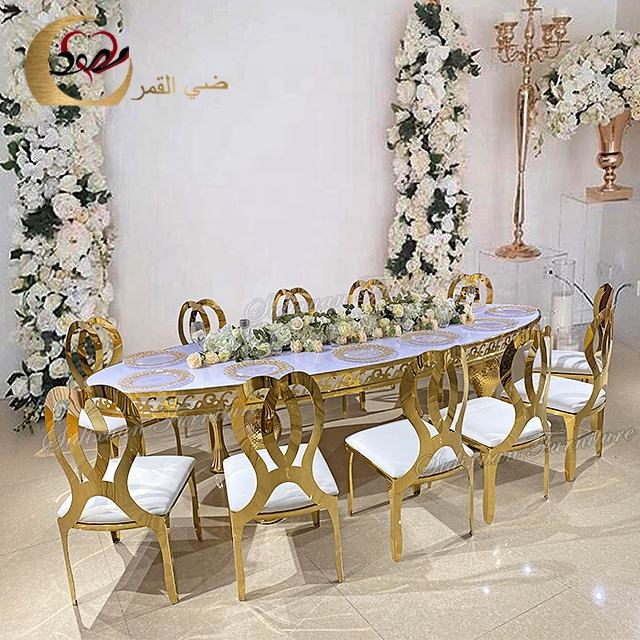 New sale wedding white mdf top gold stainless steel legs modern dining table set