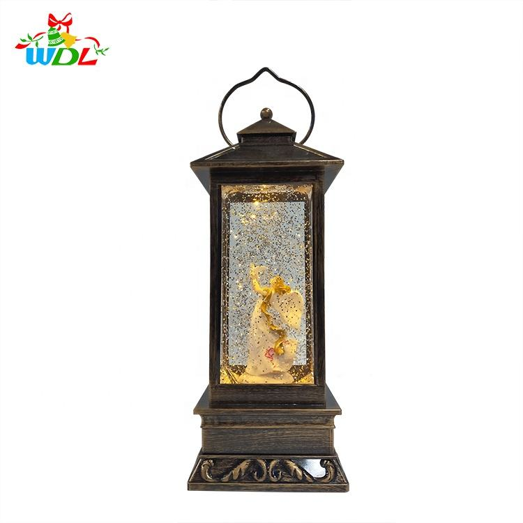 Customised Small Decorative Lanterns Led Light Angel Poly Resin Crafts Inflatable Snow Globe With Failing Snows