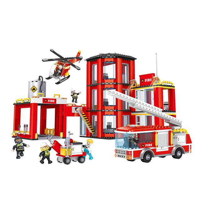 COGO Building Blocks Fire Station Toy plastic brick building block legos for Fire station set