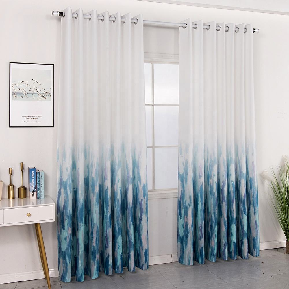 Amazon European American style Ombre Blackout Curtains Printed for Living Room Curtain Printed Window Custom Stock