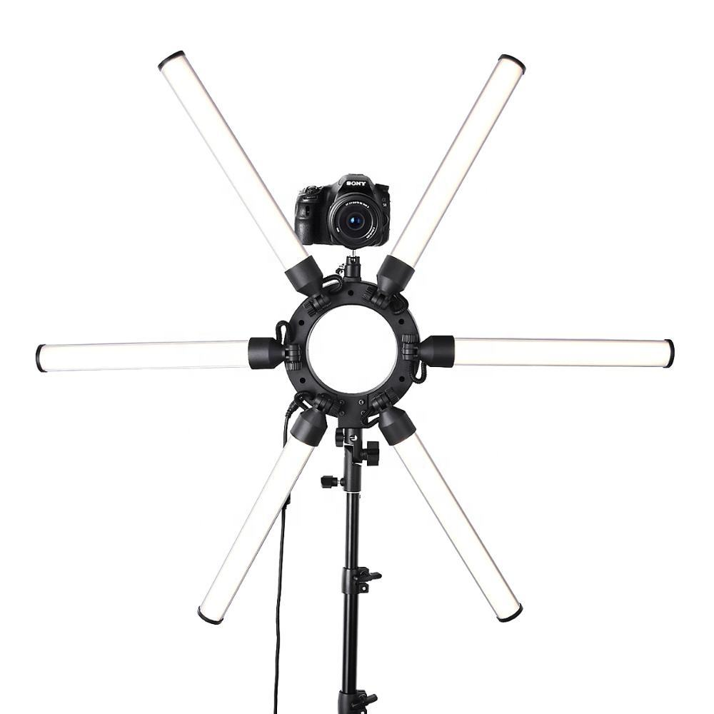 FEL-120 Photographic Video ring lighting 6 Tubes 336 led 3200-5500k 120w Dimmable Angle-Adjustable Professional Fill Light Stand