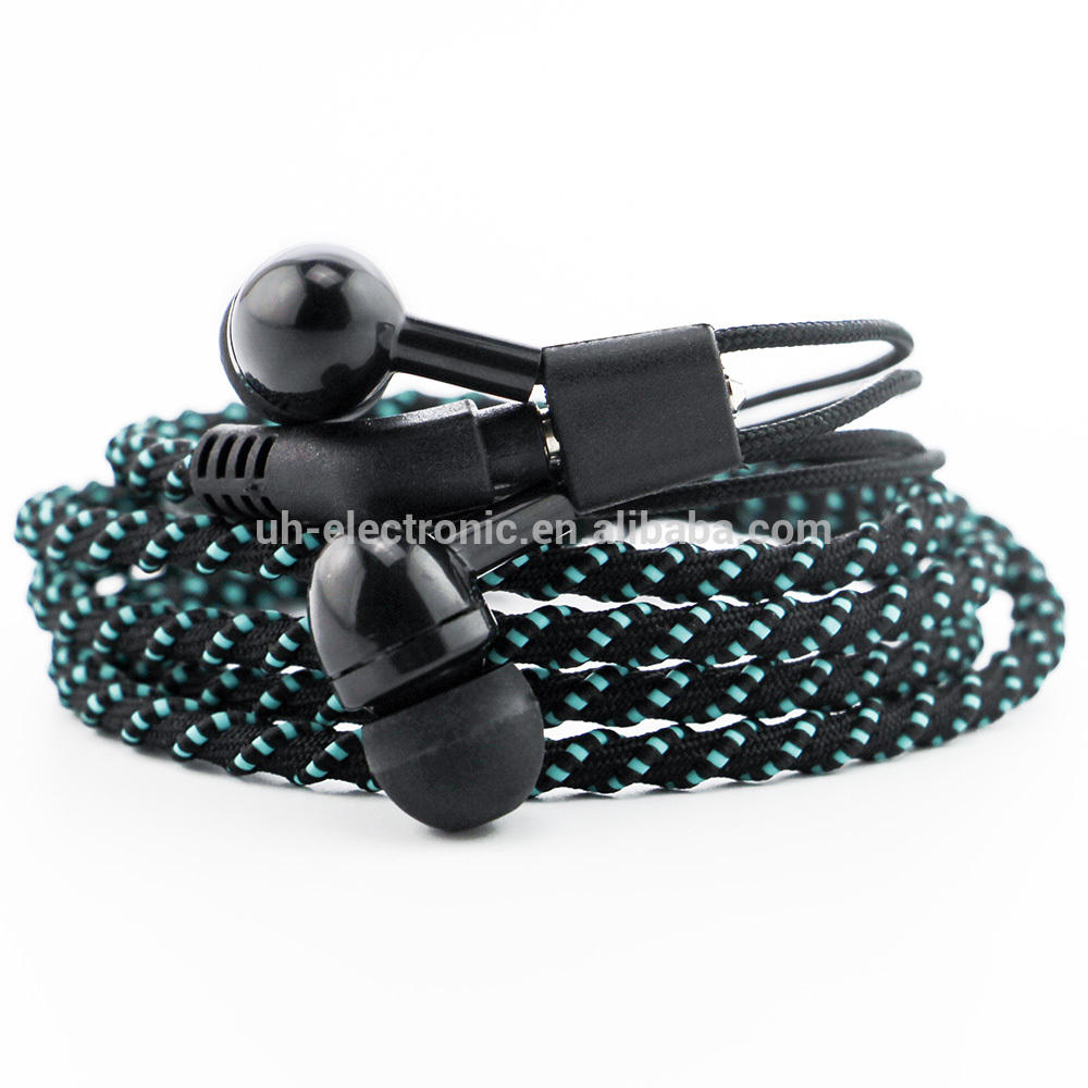 URIZONS Hot sale New design spiral cable rope braided cable bracelet earphone with Mic