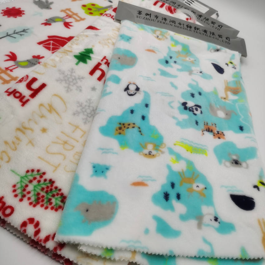 Super Soft Flannel Fleece Fabric Baby Flannel Blanket Customized Printed Pattern Polyester Blanket Fabric