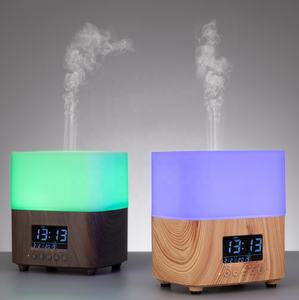 2020 New wood grain aromatherapy diffuser with multifunctional LCD Clock