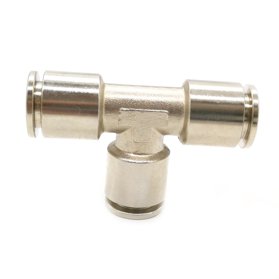 3-way t type brass pneumatic air hose quick fitting connector 10 mm 1/4 push fit air compressor fittings