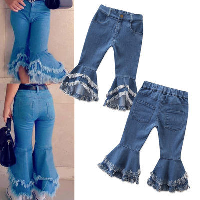 Fashion Girls Denim Bell Bottoms Children's Clothing Spring Girls Jeans 2-7 years Kids Flares Tassel Trousers