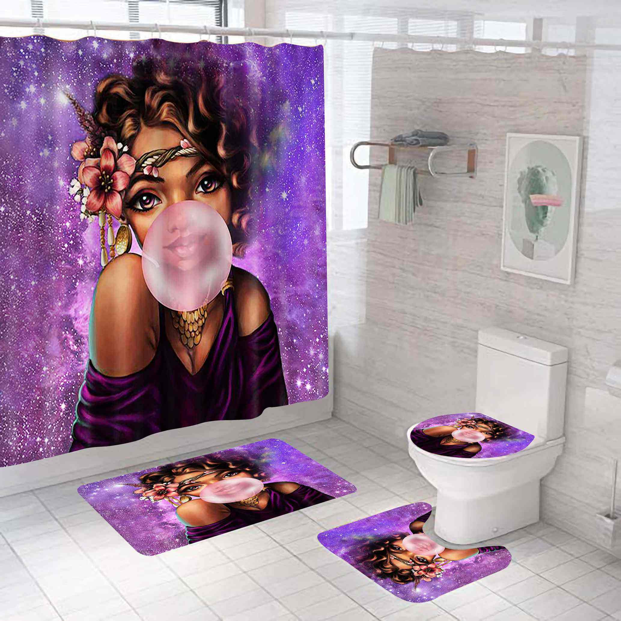 High quality wholesale funny purple african black girl shower curtain set for bathroom