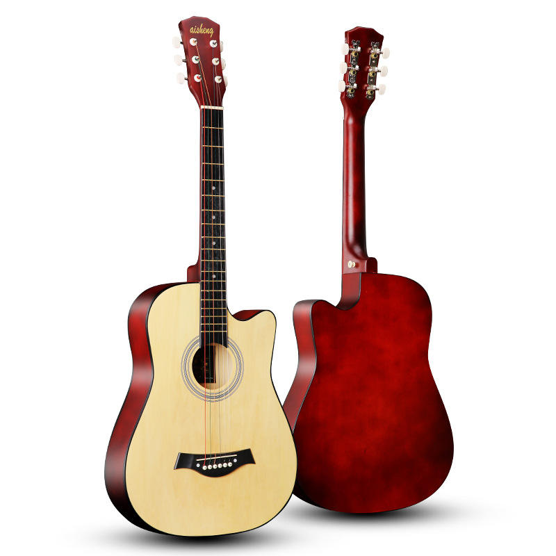 Natural basswood practice guitar acoustic guitar
