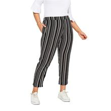 Casual Black & White Stripe Print Tapered Plus Size Trousers Pants