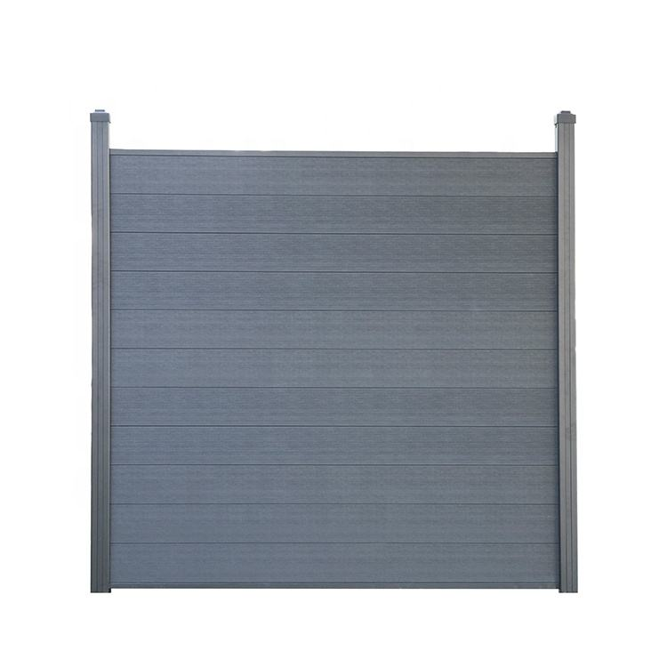 WPC Silver Gray Wood Grain Privacy Fence Gate Garden Gates