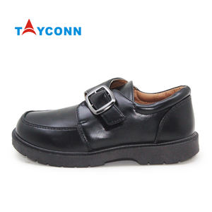 Classic trendy comfortable buckle strap memory foam insole black shoes for school