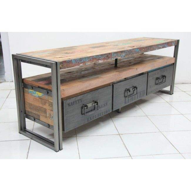 Latest Design Home Living Room Furniture Industrial grey black iron & reclaimed old wood 3 drawers entertainment TV cabinet