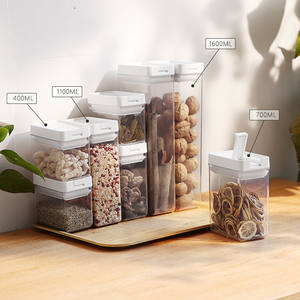 Eco-friendly Airtight Pantry Rice Cereal Food Container 7 Sets Air Tight Plastic Food Storage POP Button Container