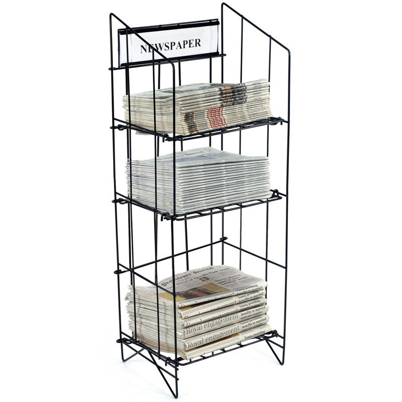Stand Display Rack High Quality Cheap White Magazine Rack A4 Metal Display Vintage Magazine Rack Store Newspaper Metal Display Stand For Hot Sale