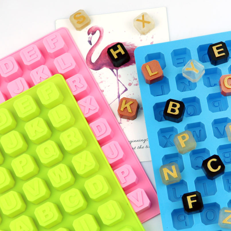 630 STOCK silicone chocolate mould with26 english words , 48 cavity ice tray reused mold with letter, silicone ice tray