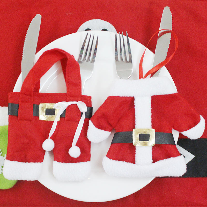 Christmas tableware cover supplies knife and fork set small clothes small pants good quality table decoration