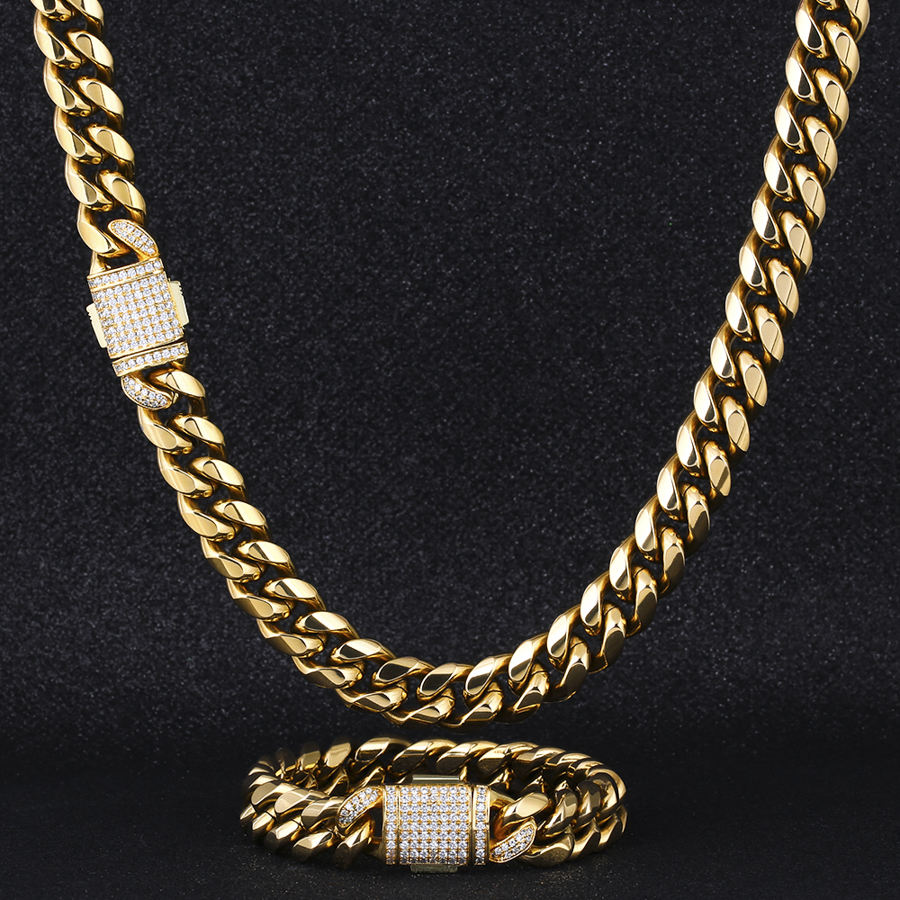 Wholesale Mens Titanium Stainless Steel Cuban Link Necklace Hip Hop 14k 18k Gold Plated Miami Curb Cuban Link Chain for Men