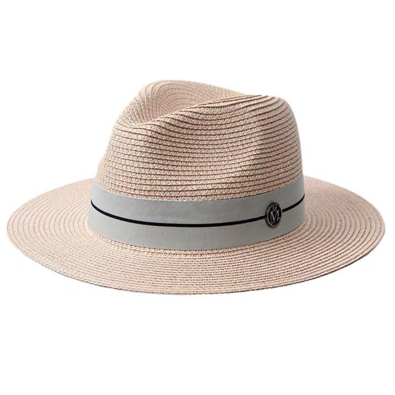 Wholesale Summer casual Paper sun hats for women fashion letter M jazz straw for man beach sun straw Panama hat