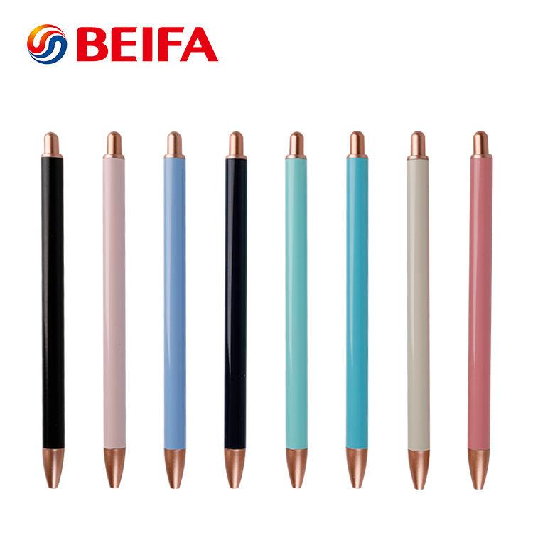 KB968201 Haute Qualité Forme Mince Multicolore Publicité <span class=keywords><strong>Stylo</strong></span> À Bille En Métal Sans Clip